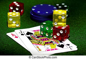 игральная кость, and, cards