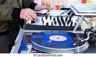 играть, музыка, диджей, открытый, воздух, запись, ...