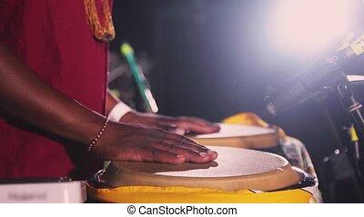 играть, открытый, африканец, fastly, руки, бонго, воздух, ...