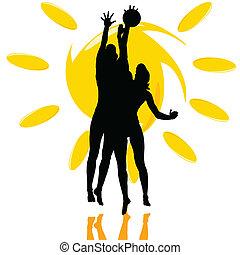 играть, силуэт, солнце, два, волейбол, девушка