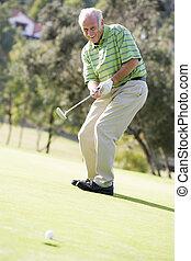 игра, гольф, playing, человек