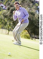 игра, женщина, гольф, playing