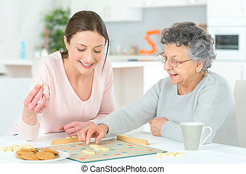 игра, женщина, доска, пожилой, playing