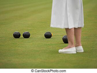 игра, of, ladies, bowls