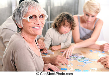 игра, playing, вместе, семья