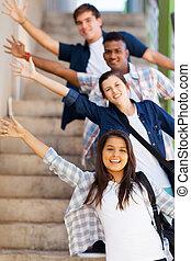 игривый, высокая, школа, students