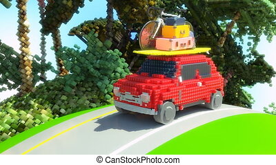 игрушка, автомобиль, собирается, к, holidays, 4k, анимация