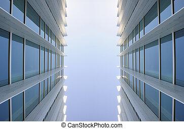 идентичный, buildings, окна, современное, два, экстерьер