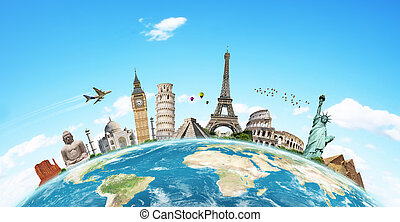 известный, мир, иллюстрация, памятник