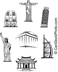 известный, путешествовать, landmarks