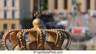 известный, skeppsholm, ориентир, background., crown., скандинавия, стокгольм, старый, зум, место, популярный, стэн, sweden., destination., золотой, 4k., город, -, его, trave, skeppsholmsbron, gamla, мост, вне