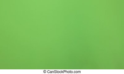 изготовление, один, background., нет, один, зеленый, крупным планом, рука, приехать, isolated, посмотреть, greenscreen, экран, знак, жест, chromakey, мужской