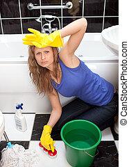 измученный, ванная комната, женщина