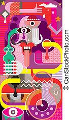 изобразительное искусство, абстрактные, вектор, -, ...
