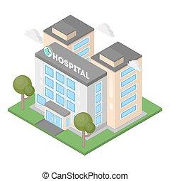 изометрический, больница, building.