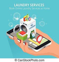 изометрический, женщина, прачечная, service., с помощью, концепция, приложение, screen., иллюстрация, рука, книга, вектор, онлайн, services, главная, смартфон, бронирование