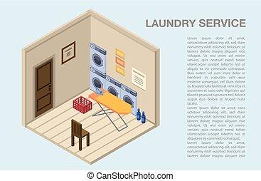 изометрический, концепция, прачечная, комната, оказание услуг, стиль, задний план