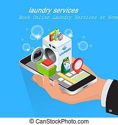 изометрический, смартфон, прачечная, service., с помощью, концепция, приложение, screen., рука, книга, онлайн, services, главная, бронирование, человек