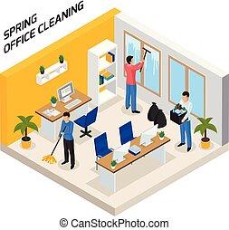 изометрический, уборка, офис, состав