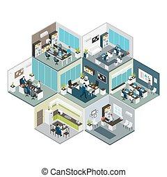 изометрический, floors, другой, офис, состав