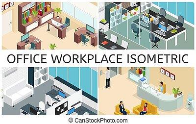 изометрический, interiors, офис, состав