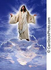иисус, на, , облако