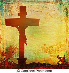 иисус, христос, crucified, гранж, задний план