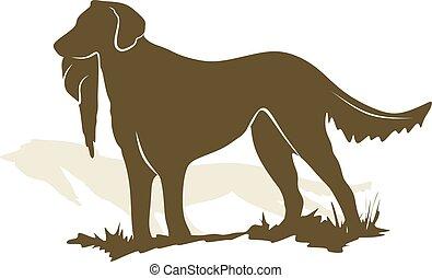 иллюстрация, собака, вектор, охота