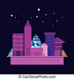 иллюстрация, of, skyscrapers, город, здание, на, синий, задний план