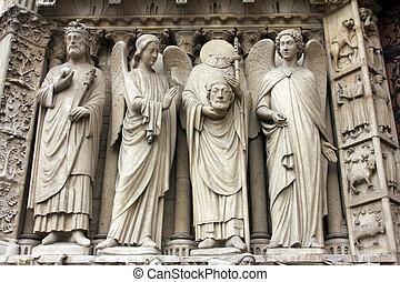 император, константин, an, ангел, святой, денис, держа, his, глава, and, другой, angel.