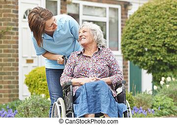 инвалидная коляска, женщина, старшая, сиделка