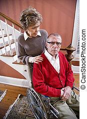 инвалидная коляска, пара, старшая, главная, человек