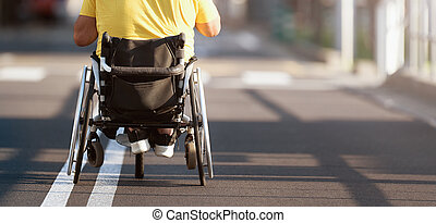 инвалидная коляска, человек, отключен