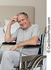 инвалидная коляска, человек, старшая, главная, улыбается, his