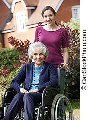 инвалидная коляска, pushing, дочь, старшая, мама