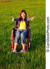 инвалид, женщина, на, инвалидная коляска