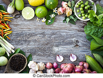 ингредиент, spices, на, зерно, дерево, задний план