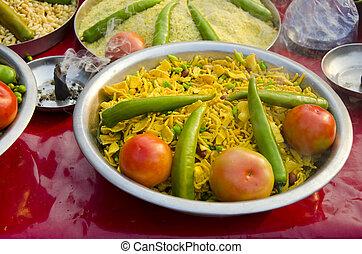 индийский, питание, в, пластина, and, frankincence, в, рынок
