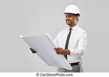 индийский, шлем, архитектор, план, мужской