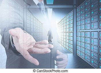 инженер, бизнес, человек, в, 3d, сеть, сервер, комната, в виде, концепция