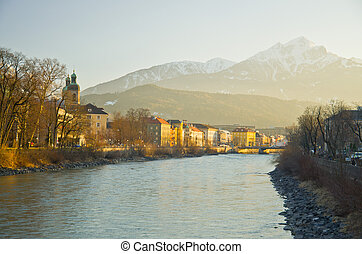 инсбрук, австрия, -, архитектура, and, природа, задний план