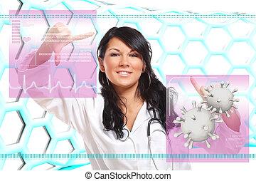 интерфейс, лекарственное средство, футуристический, за работой, врач