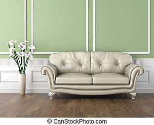 интерьер, белый, зеленый, классический