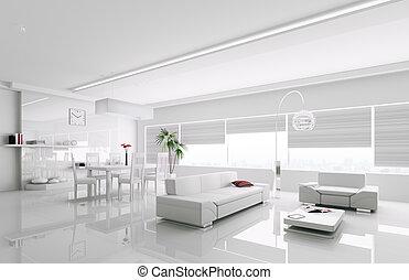интерьер, белый, квартира, современное, 3d