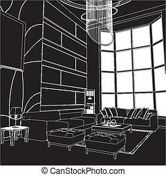 интерьер, живой, современное, комната