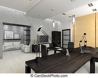 интерьер, оказание, современное, офис, 3d