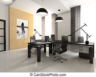 интерьер, оказание, 3d, офис, кабинет