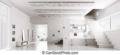 интерьер, панорама, белый, квартира, современное