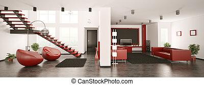 интерьер, панорама, квартира, современное, 3d