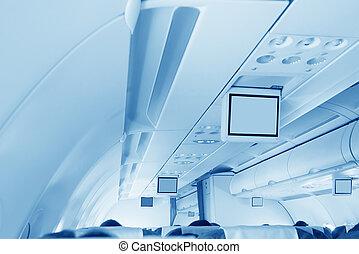 интерьер, самолет, коммерческая
